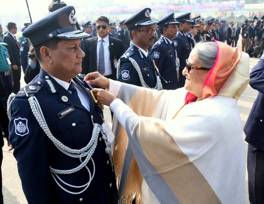 Honorable PM Sheikh Hasina Awarding Bangladesh Police Medal to DMP Commissioner in Police Week 2018